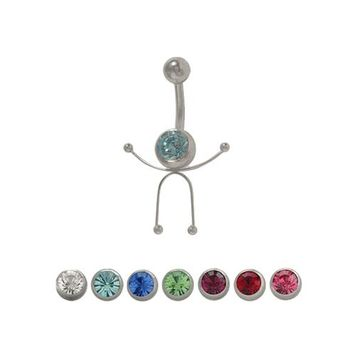 14 gauge Stick Figure Belly Button Ring Surgical Steel with Jewel