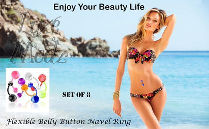 Flexible Belly Button Navel Ring with Marbel Ball set of 8