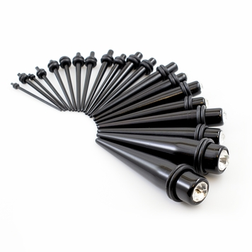 Stretching Tapers Kit Black Acrylic with Cubic Zirconia (16ga- 7/16inch)