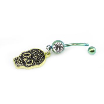 Sugar Skull Designed Belly Button Rings - Pick and Choose 14ga