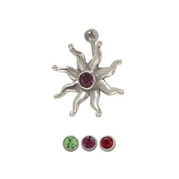 14 gauge Sun Flower Belly Button Navel Ring Surgical Steel with Jewel
