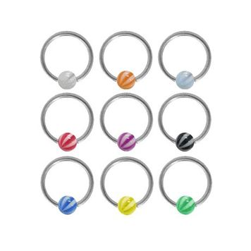 Surgical Steel Captive Bead Ring with Acrylic Beach Ball Bead
