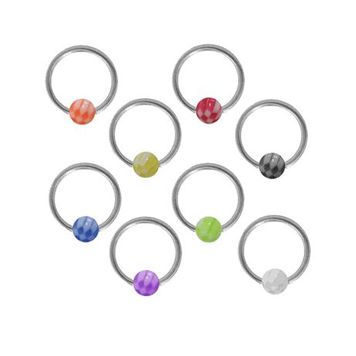 Surgical Steel Captive Bead Ring with Acrylic Checker Bead