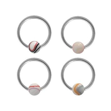 Surgical Steel Captive Bead Ring with Acrylic Marble Design Bead