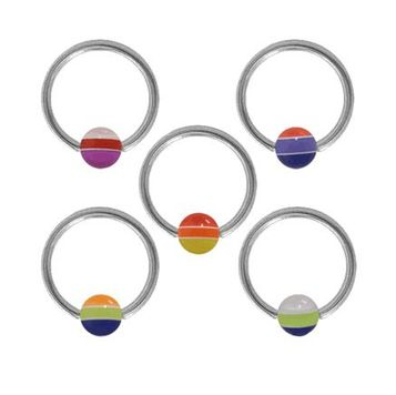 Surgical Steel Captive Bead Ring with Multi Color Acrylic Bead