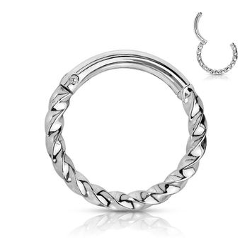 Surgical Steel Hinged Segment Hoop Rings Twisted Surgical steel Ion plated