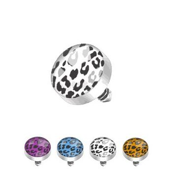 Surgical Steel Internally Threaded Leopard Print Inlayed Dome Dermal Top