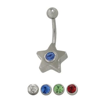 14 gauge Surgical Steel Star Belly Ring with Cz Jewel