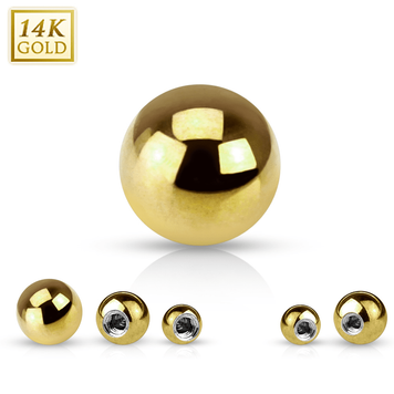 Yellow 14K Solid Gold 14ga Replacement Ball  3mm - Sold Each