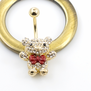 Teddy Bear with Red Bow Belly Button Ring Multiple CZ 14G Gold IP