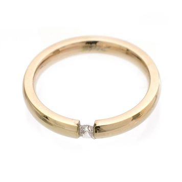 Tension Set CZ Rose Gold IP Stainless Steel Band Ring 3mm