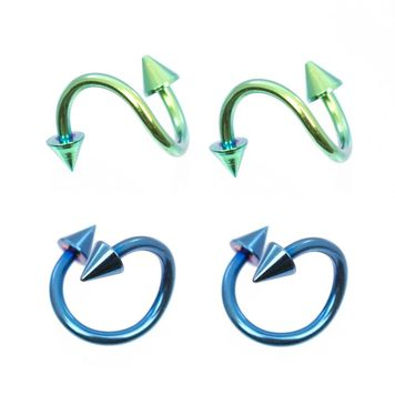 Pack of 4 Twister Rings Anodized Titanium Blue and Green with Spike Ends 16ga