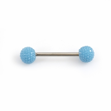 Tongue Barbell with Acrylic Textured Designed Balls 14ga 5/8 inches -15mm
