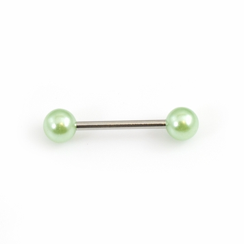 Tongue Barbell with Faux Synthetic Pearl Acrylic Designed Balls 14ga 5/8 inches- 15mm