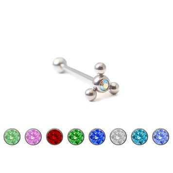 Steel Tongue Barbell with Colored Gem