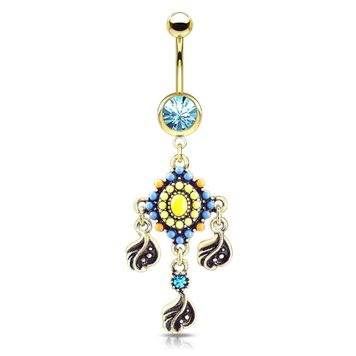 Tribal Bead Paved with Filigree and Crystal Dangle Surgical Steel Jeweled Ball Belly Button Ring 14ga