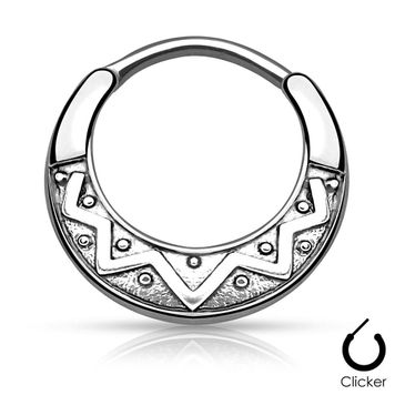 Tribal Fan Design Round 316L Surgical Steel Septum Clicker 16G