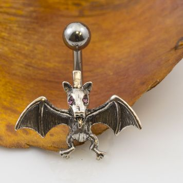 Bat Belly Button Ring with Pink Cubic Zirconia Eyes 14g
