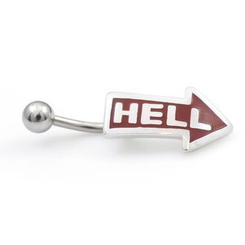 "Arrow depicted ""Hell"" Belly Button Ring 14ga"