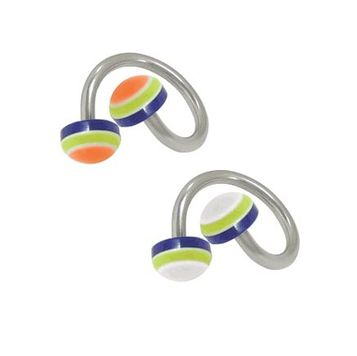 Twister Ring Surgical Steel with UV Acrylic Half-Bead