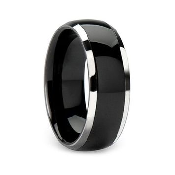 Two Tone Solid Titanium Dome Ring