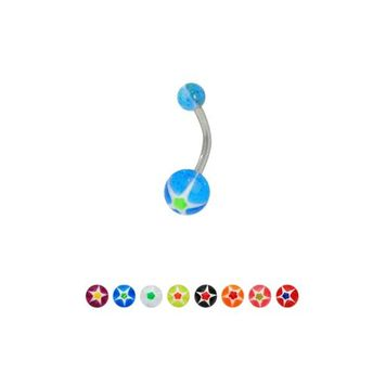 UV Acrylic Star Glitter Balls 14g Belly Button Rings