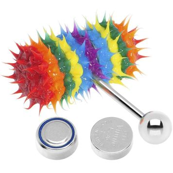 Lix Silicone Spikes Vibrator Tongue Ring Rainbow Explosion 14G