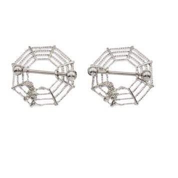 Pair of  Braided Spider Web Nipple Shields Surgical Steel 14ga