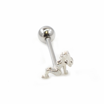 Woman on Top Design Tongue Barbell 14G 316L