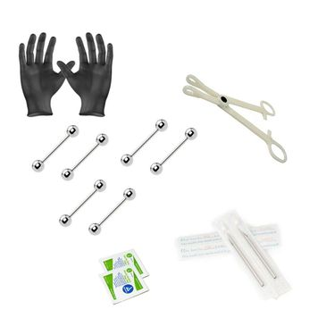 12-Piece Barbells Piercing Kit - Includes (6) 14g Barbells, (2) Needles, (1) Forceps, (2) Alcohol Wipes and a Pair of Gloves