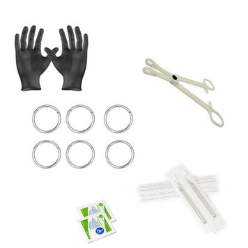 12-Piece Hinged Ring Piercing Kit - Includes (6) 14g Hinged Ring, (2) Needles, (1) Forceps, (2) Alcohol Wipes and a Pair of Gloves