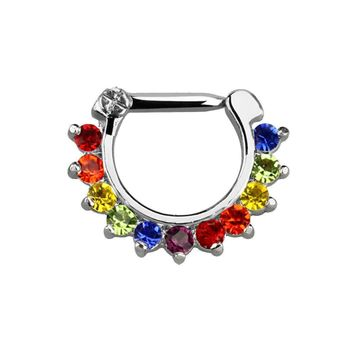 Septum clicker with a 14 gauge closure bar and 8mm drop with rainbow color gems