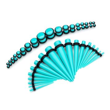 Acrylic Aqua Stretchering  Kit Tapers Tunnels and Plugs 14G-00G Ear Stretching Starter 36 pc.