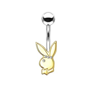 Belly Button Navel Rings Playboy Bunny with Clear Gem Eye and Triple Gem Headband 316L Surgical Steel