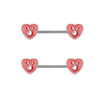 Pair of Enamel Heart with Playboy Bunny 316L Surgical Steel Nipple Barbell Rings