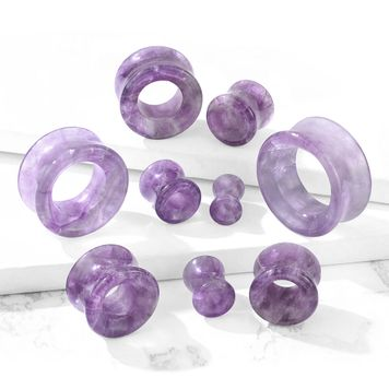 Ear Plugs Semi Precious Amethyst Stone Double Flared Saddle Tunnel sold as a pair