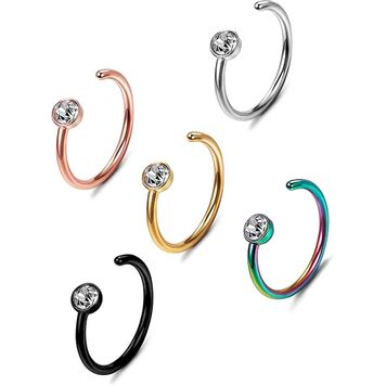 Nose Ring Hoop Jewel Body Ear Piercing 5 Pack Mixed Colors 18G or 20G