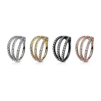 Hinged Segment Hoop Rings with Triple Layer Paved CZ Surgical Steel
