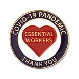 1-1/4 INCH ESSENTIAL WORKERS COVID-19 PANDEMIC THANK YOU LAPEL PIN