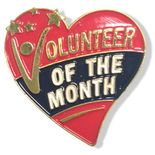 1-1/8 INCH HEIGHT VOLUNTEER OF THE MONTH HEART LEAPEL PIN