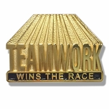 1-1/8 INCH TEAMWORK WINS THE RACE PIN