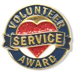1 INCH DIAMETER VOLUNTEER SERVICE AWARD LAPEL PIN