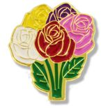 1 INCH HEIGHT BOUQUET OF ROSES LAPEL PIN