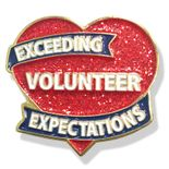 1 INCH HEIGHT EXCEEDING VOLUNTEER EXPECTATIONS SPARKLY HEART LAPEL PIN