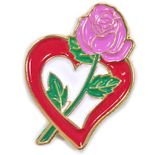 1 INCH HEIGHT RED HEART WITH PINK ROSE LAPEL PIN