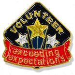 1 INCH HEIGHT VOLUNTEER EXCEEDING EXPECTATIONS LAPEL PIN