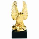 10-1/2 INCH BRIGHT GOLD RESIN AMERICAN EAGLE TROPHY ON BLACK BASE