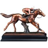 11-1/2 INCH ELECTROPLATED BRONZE JOCKEY ON RACING HORSE TROPHY