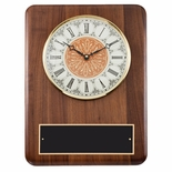 11 x 15 ANTIQUE QUARTZ CLOCK PLAQUE IN GENUINE WALNUT