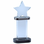 3-1/2 x 8-1/4 INCH OPTICAL CRYSTAL STAR TOWER AWARD WITH BLACK BASE